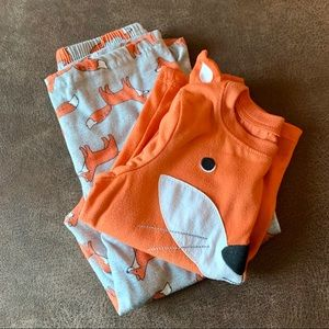 Carter's Grey & Orange Fox Pajama Set 5T